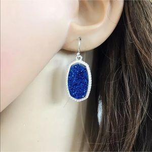 Jewelry - Blue/silver Tone Druzy drop earrings new